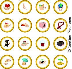 cerchio, donare, dato, icona, cartone animato