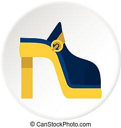 cerchio, donne, scarpa, icona