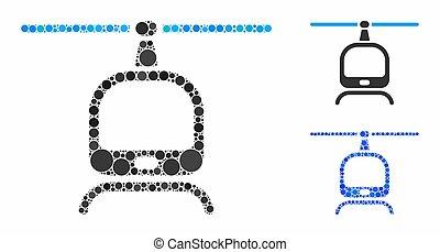 cerchio, elicottero, mosaico, icona, punti