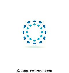 cerchio, icona, astratto, vettore, set, punti, illustrazione