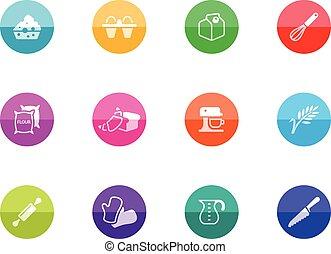 cerchio, icone, -, cottura