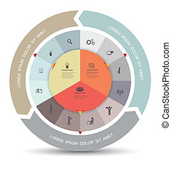 cerchio, icone, diagramma