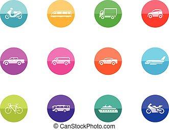 cerchio, icone, -, trasporto
