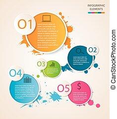 cerchio, infographic, watercolour