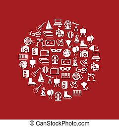 cerchio, intrattenimento, icone