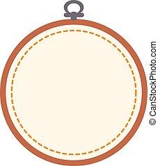 cerchio, isolato, fondo., ricamo, bianco, vuoto