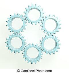 cerchio, lavoro squadra, ingranaggi, 3d