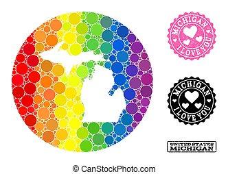 cerchio, mappa, mosaico, michigan, arcobaleno grunge, lgbt, stato, amore, francobollo, buco