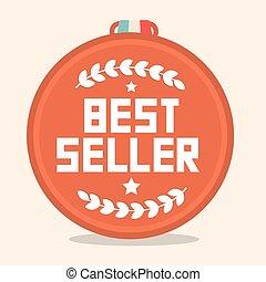 cerchio, medaglia, retro, meglio, venditore
