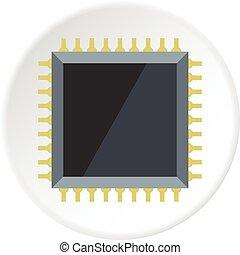 cerchio, microchip computer, icona