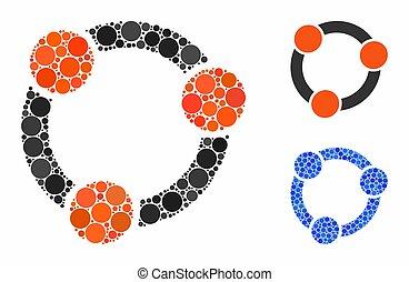 cerchio, mosaico, collaborazione, icona, punti