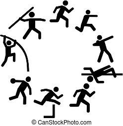 cerchio, organizzato, decathlon, icone