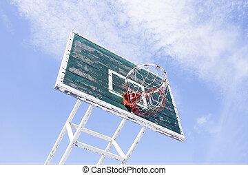 cerchio pallacanestro, con, cielo blu