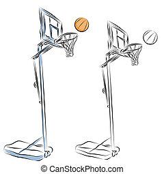 cerchio pallacanestro, stare in piedi, rivestire disegno