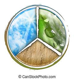 cerchio, parte, nubi, tre, natura
