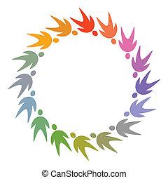 cerchio, persone, colorito, pictogram