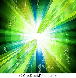 cerchio, raggi, sfondo verde