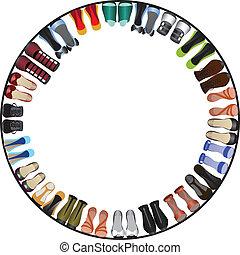 cerchio, scarpe, cornice