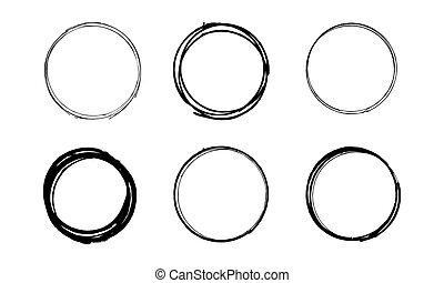 cerchio, set, grunge, scarabocchio