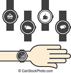 cerchio, smartwatch, con, icone