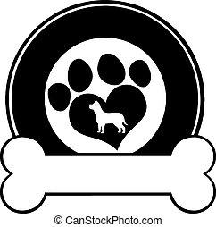 cerchio, veterinario, nero, etichetta