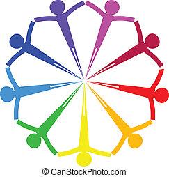 cerchio, vettore, -, icona, persone