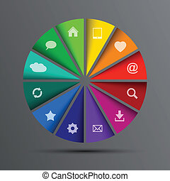 cerchio, vettore, icone