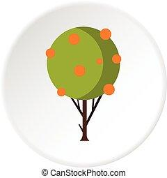 cercle, arbre fruitier, icône