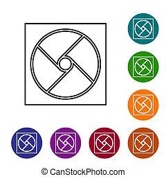 cercle, arrière-plan., vecteur, ensemble, noir, ligne, icônes, buttons., isolé, blanc, couleur, illustration, icône, ventilation
