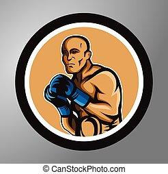 cercle, autocollant, boxeurs