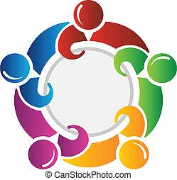 cercle, autour de, équipe