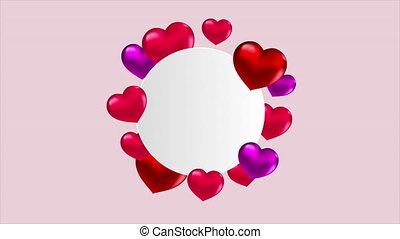 cercle, ballons, coeur, blanc, formé