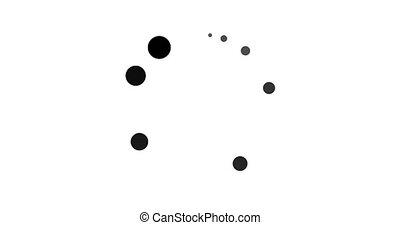 cercle, blanc, arrière-plan noir, points