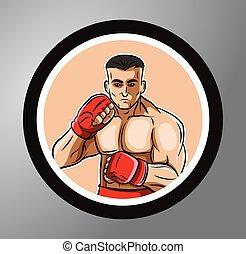 cercle, boxeur, autocollant
