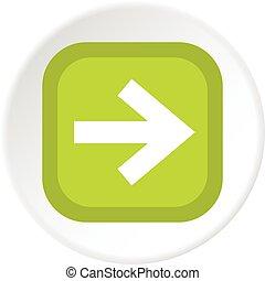 cercle, carrée, icône flèche