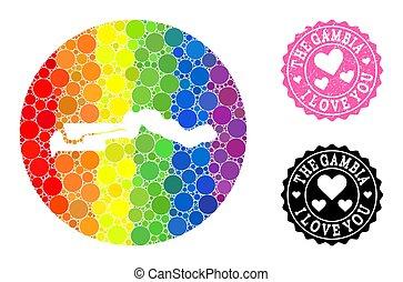 cercle, carte, mosaïque, caoutchouc, spectre, gambie, lgbt, amour, cachet, trou