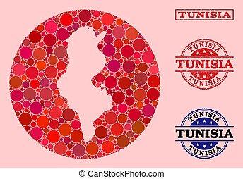 cercle, carte, mosaïque, caoutchouc, tunisie, cachet, stencil