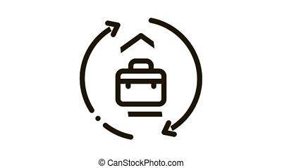 cercle, cas, animation, maison, icône, flèches