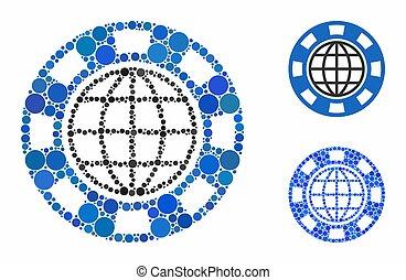 cercle, casino, global, mosaïque, puce, icône, points
