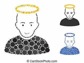 cercle, composition, homme, saint, icône, points