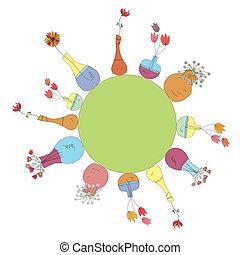 cercle, conception, fond, formulaire, vases