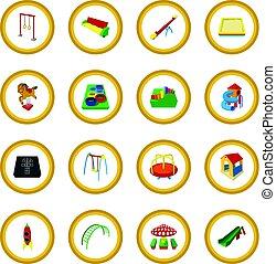 cercle, cour de récréation, dessin animé, icône