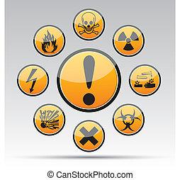 cercle, danger, collection, signe