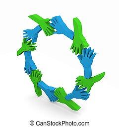 cercle, de, amitié, mains, 3d, isome