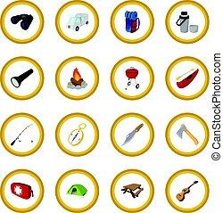 cercle, dessin animé, camping, icône