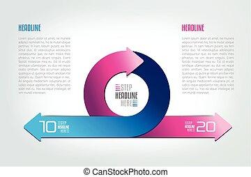 cercle, divisé, flèches, infographic., deux, rond