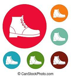 cercle, ensemble, hausse bottes, icônes