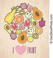cercle, fait, fruit