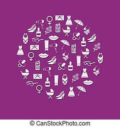 cercle, femmes, icônes