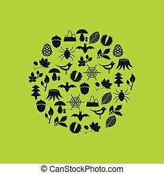 cercle, forêt, icônes